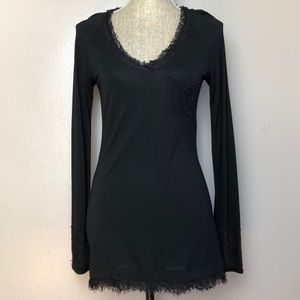 DVF Benji Black Lace Long Sleeve Jersey Top M